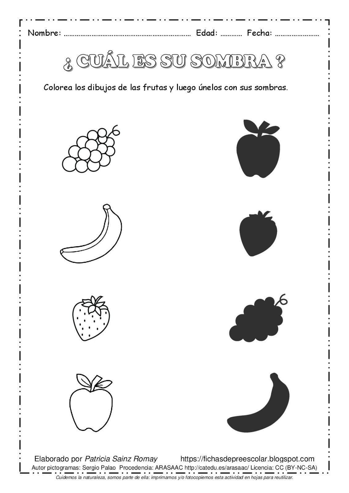Fdp Unir El Dibujo Con Su Sombra Frutas A4 Bn 001
