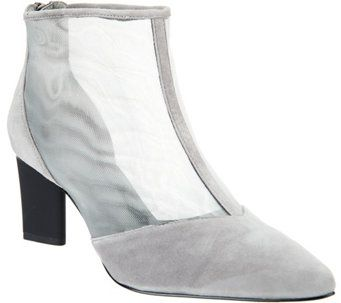 8f6677ca514 LOGO by Lori Goldstein Leather and Mesh Ankle Boots w  Zipper - A280984