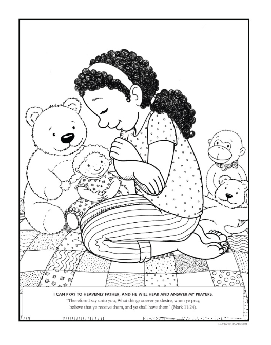 coloring page girl praying - Lds Primary Coloring Pages Prayer