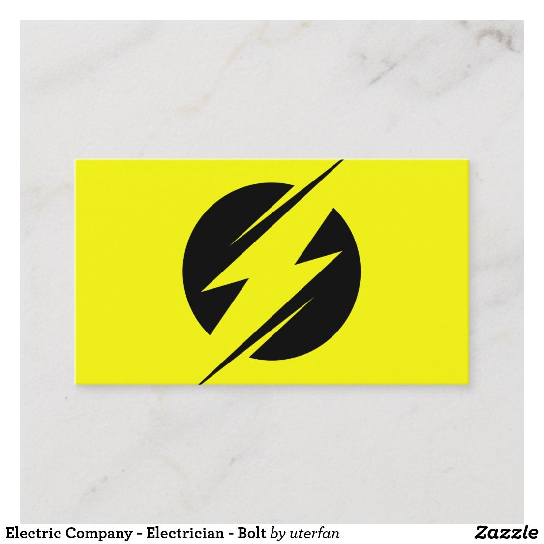 Electric Company Electrician Bolt Business Card Zazzle Com Electrician Minimalist Business Cards Electrical Company Logo