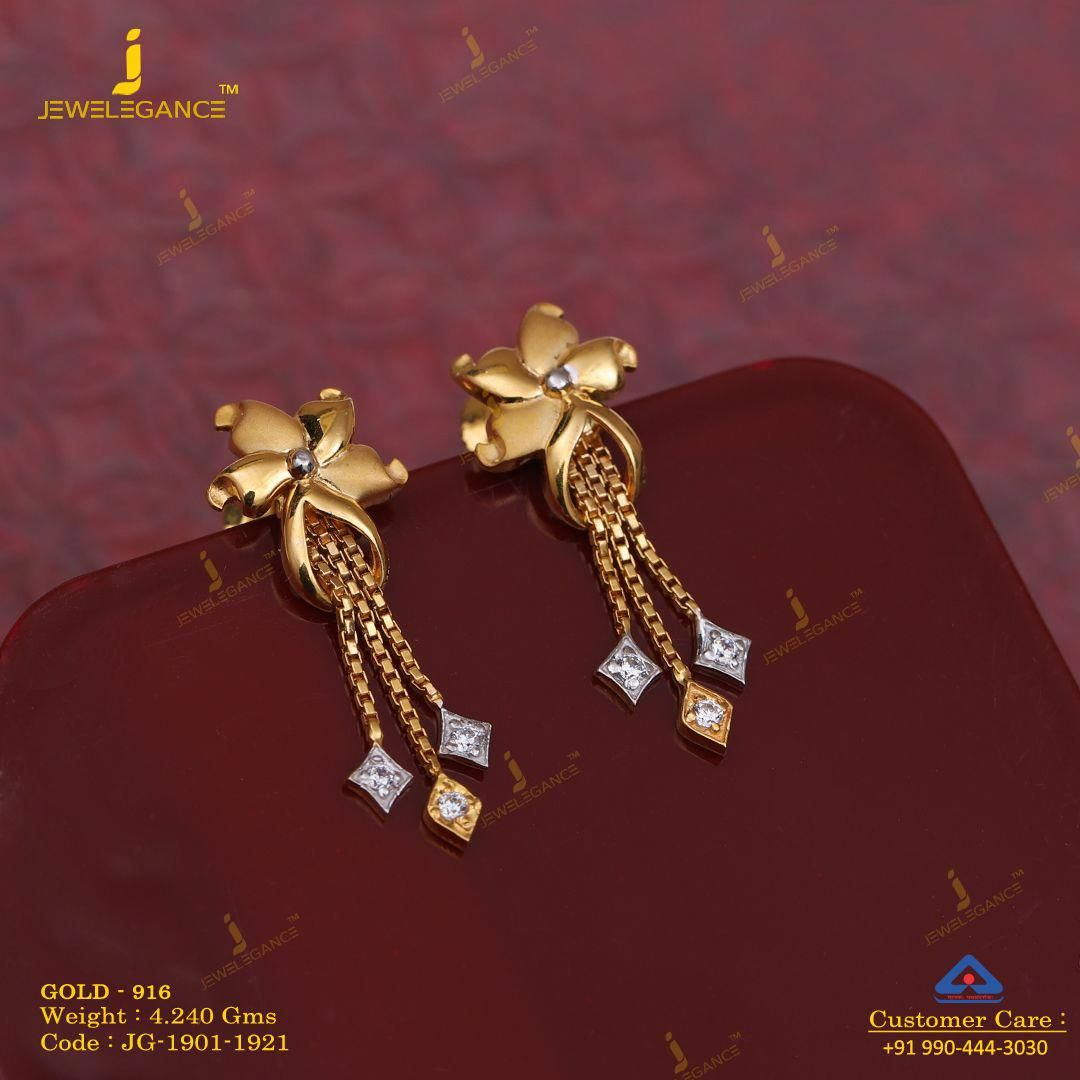 Tiny Gold Lightning Bolt Shaped Stud Earrings Gold Plated In 2020 Gold Earrings Indian Gold Jewelry Simple Necklace Gold Earrings Designs
