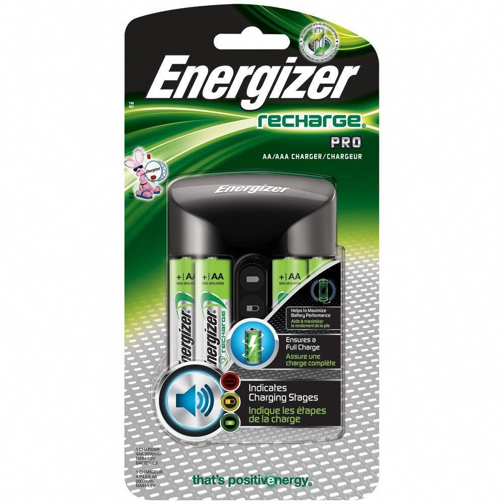 Energizer Recharge Pro Battery Charger Chprowb4 Silver Aaa Battery Charger Rechargeable Batteries Energizer