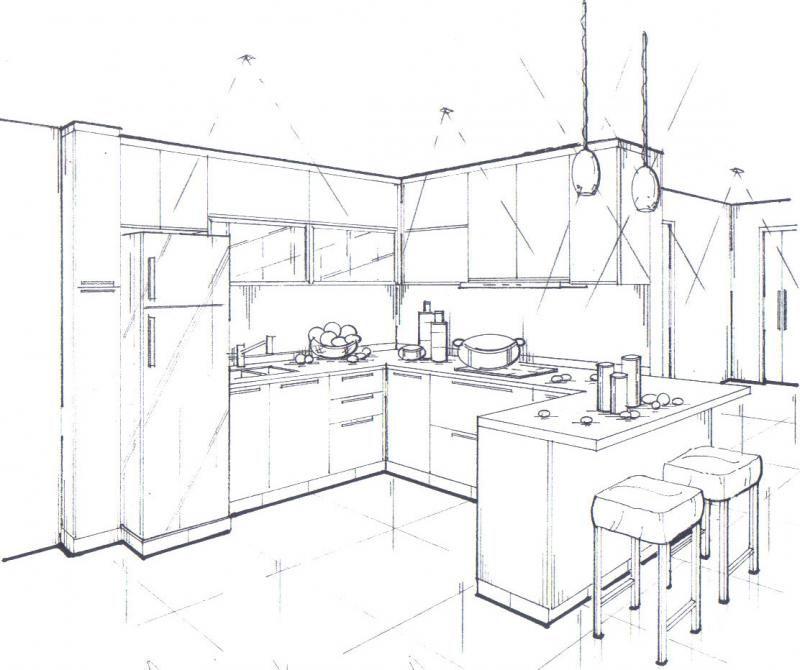 Нарисовать кухню своими руками
