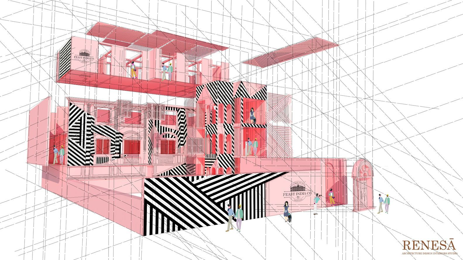The Pink Zebra Kanpur India 2018 Renesa Architecture Design Interiors Architecture Drawing Red Architecture Architecture Presentation