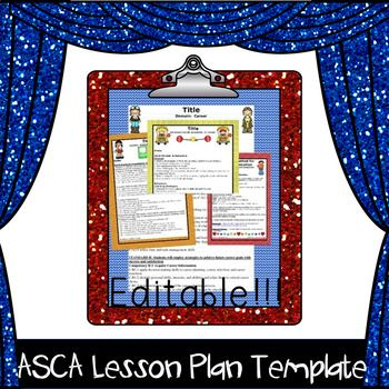 Decorative Editable Lesson Plan Template With Asca Behaviors And