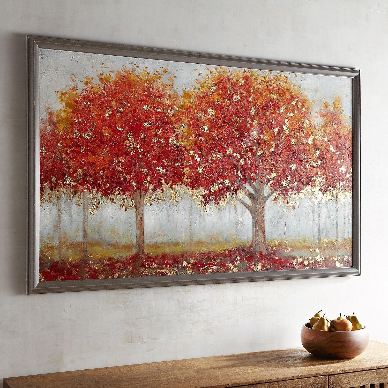 Red Framed Trees Art Tree Wall Art Tree Art Leaf Wall Art