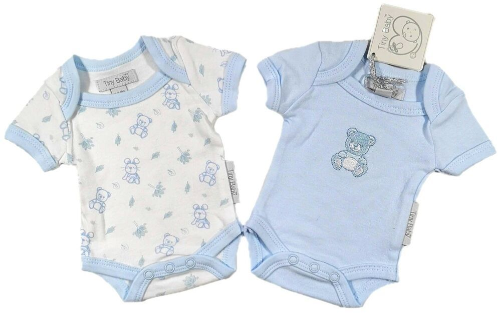 20cae76c663f Details about Boys Tiny Baby Premature Baby Bodysuits Baby Grows ...