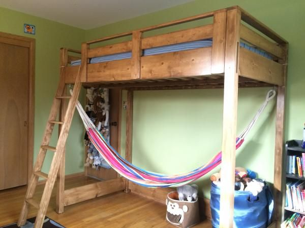 Build it loft bed with hammock kids bedroom tutorials for Diy bedroom hammock