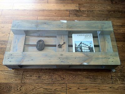 Coffee table: up-cycled pallet & glass cover