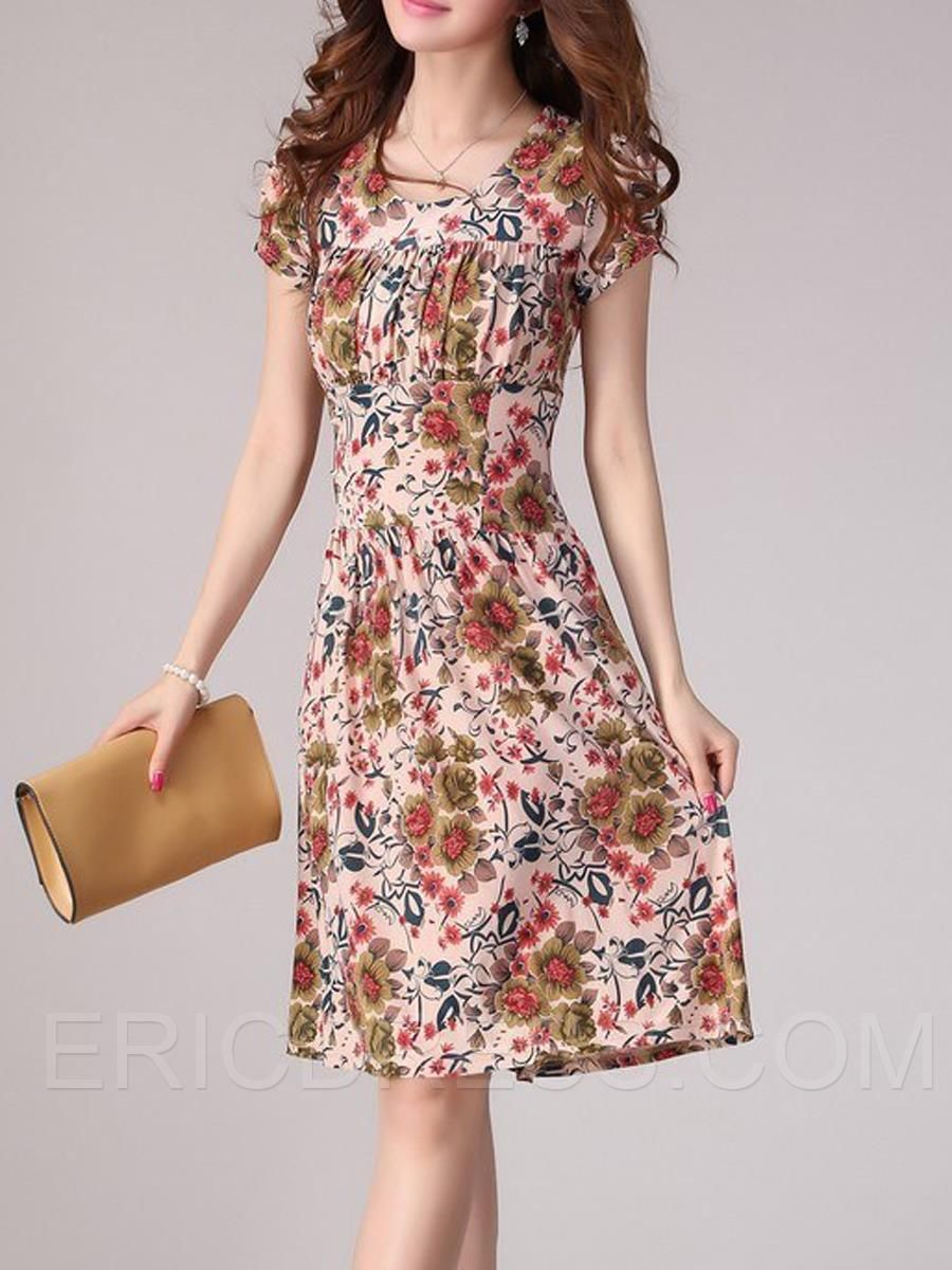 Ericdress Floral Print Pleated Round Neck Casual Dress 1
