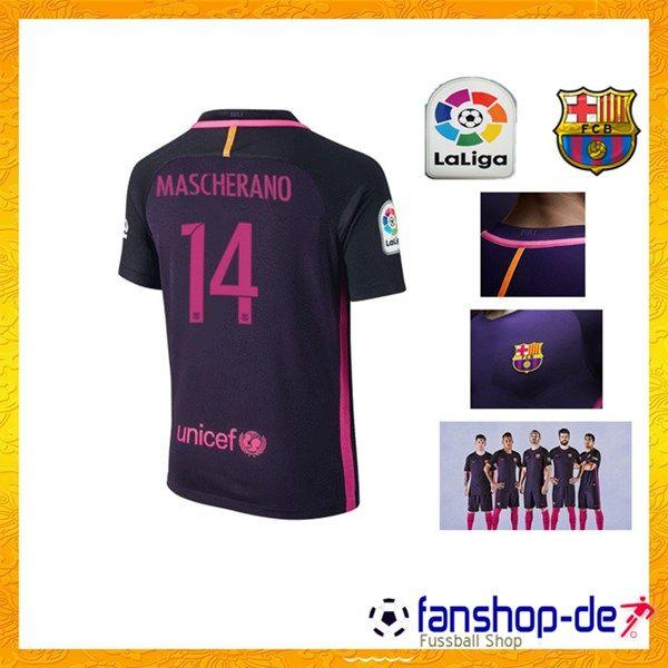 New FC Barcelona Auswärtstrikot MASCHERANO 14 Lila 2016 2017 Fan Shop Kaufen