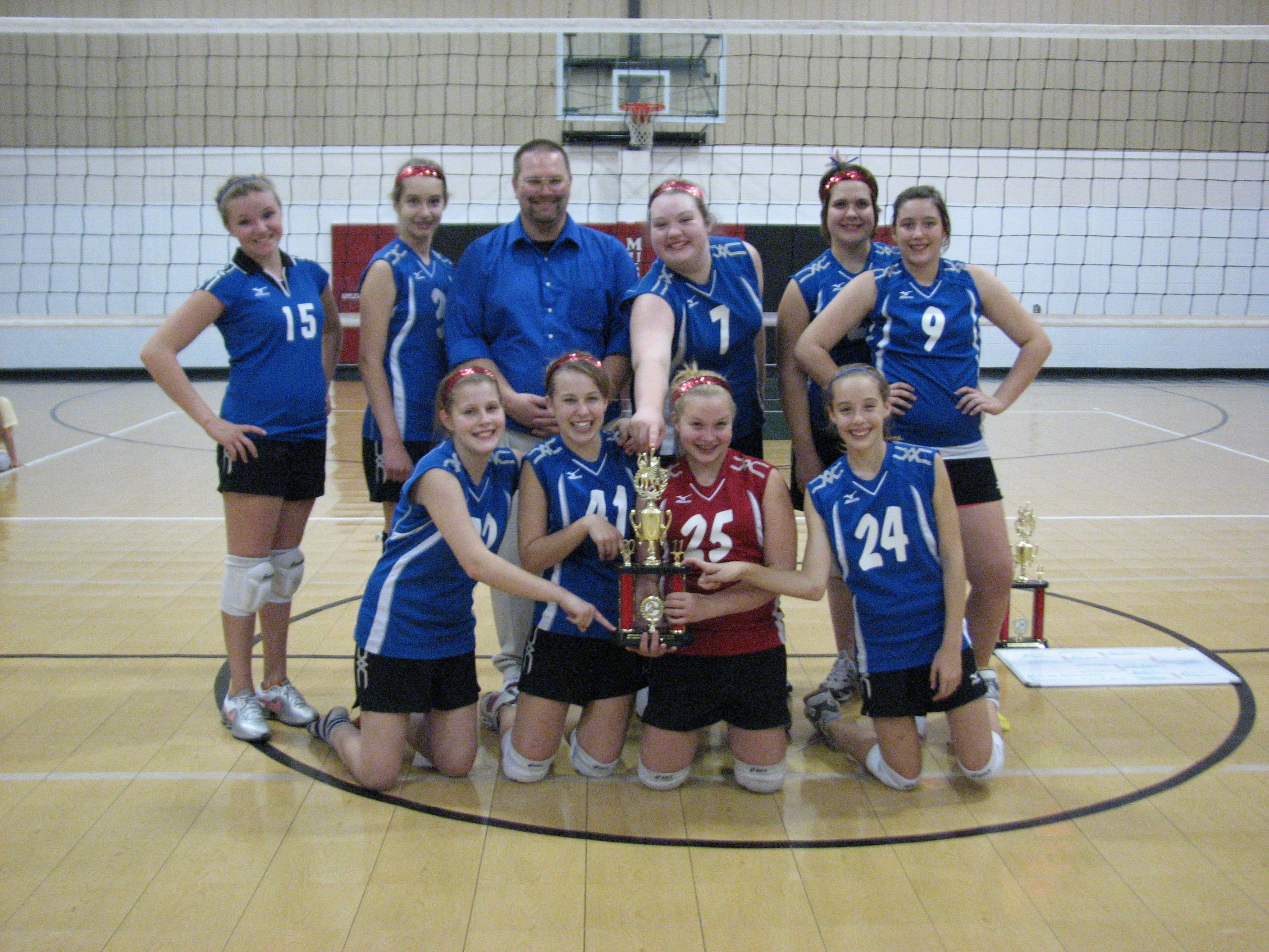 2011 2nd Place Applewood Jv Tournament Kc East Jh Volleyball Team Volleyball Basketball Court
