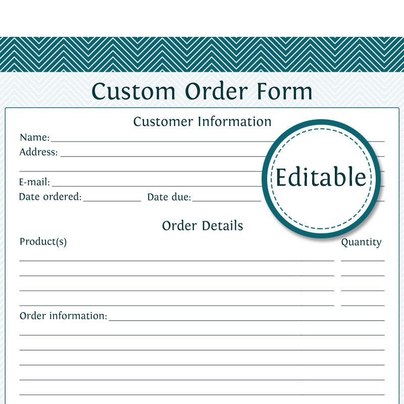 Printable Customizable Order Form Custom Order Form  Editable