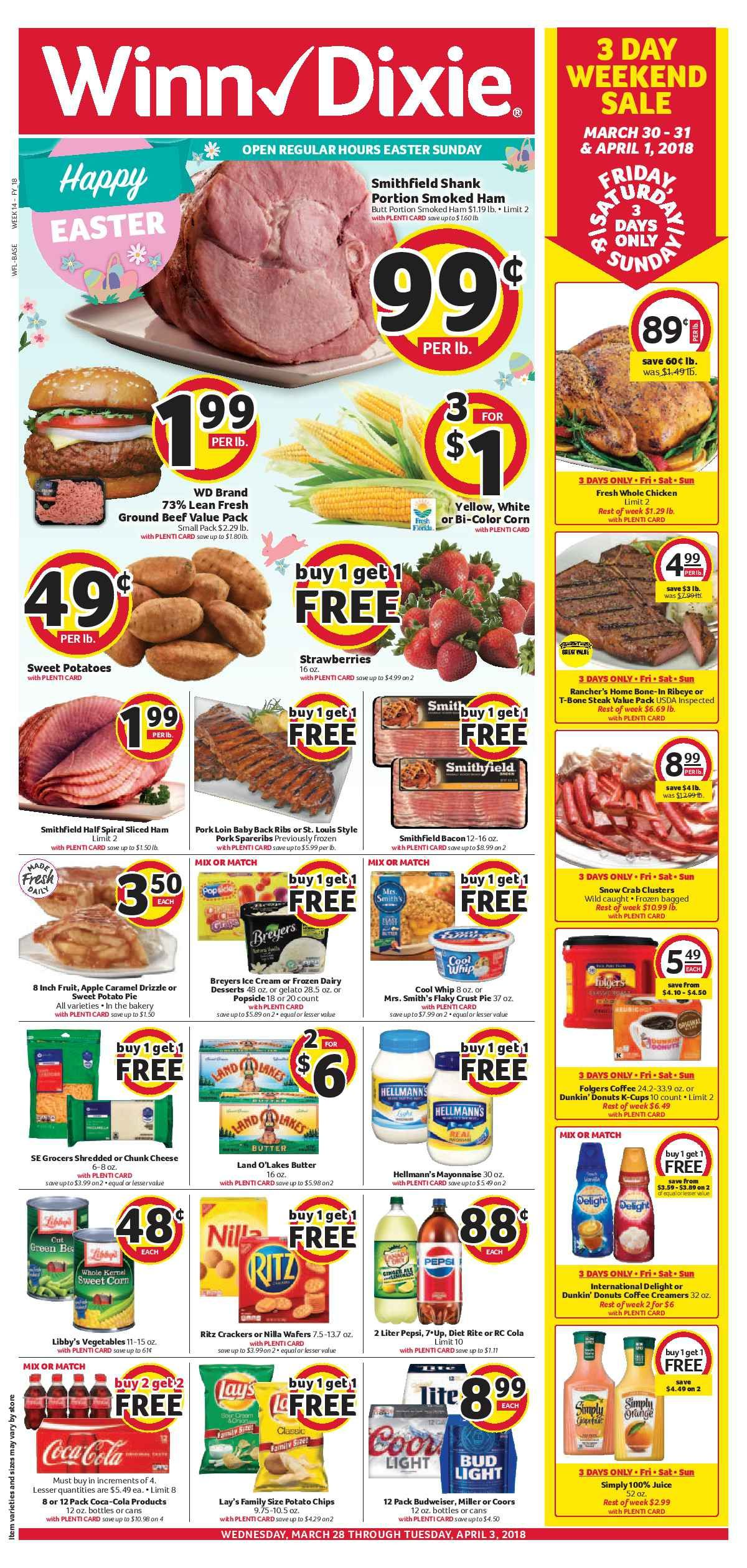 Winn Dixie Weekly ad Flyer April 4   10, 2018 | Weekly ads and Ads