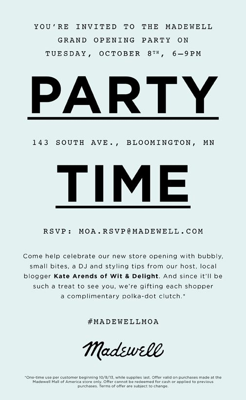 MOA Madewell Grand Opening Grand opening, Madewell and Typography - best of invitation letter format for japan visa
