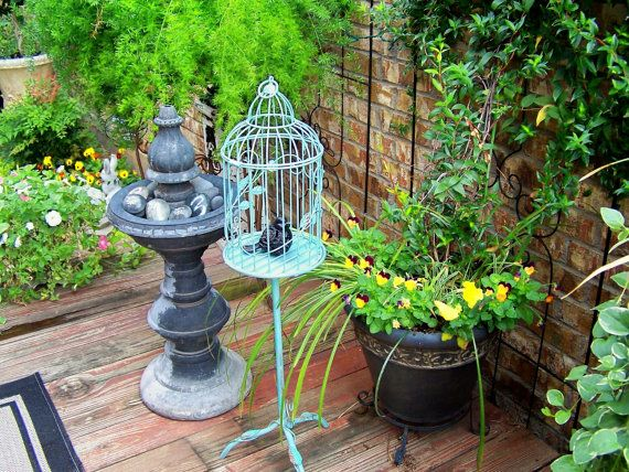 Shabby Chic Bird Cage On a Stand Sage Green Aqua Highlights Vintage