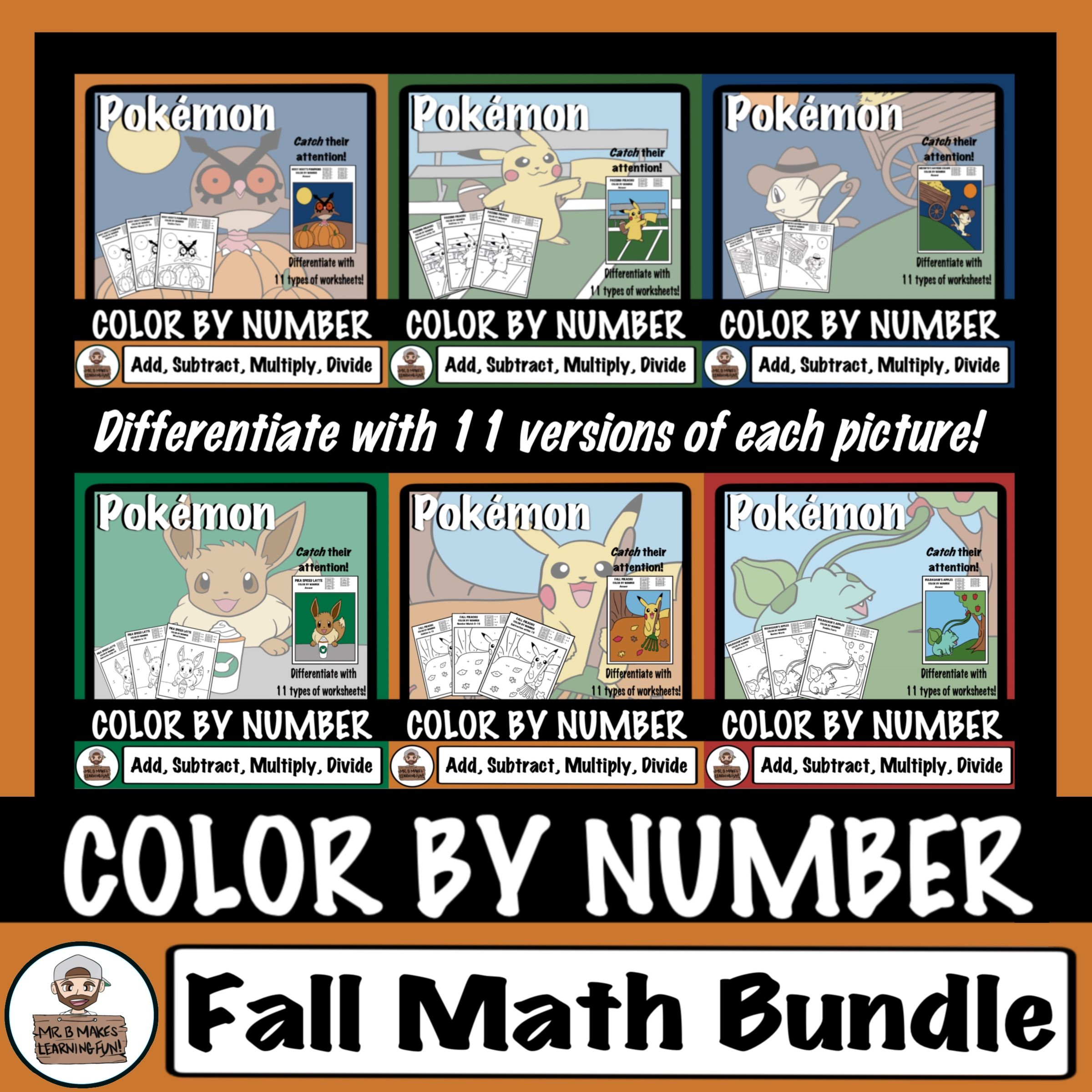 Make Math Fact Practice Fun With These Pokemon And Fall Themed Color By Number Worksheets I Designed Fall Math Activities Math Facts Fall Classroom Activities [ 2400 x 2400 Pixel ]