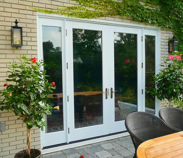 Simple and secure french doors design ideas foot exterior for French doors with side windows that open
