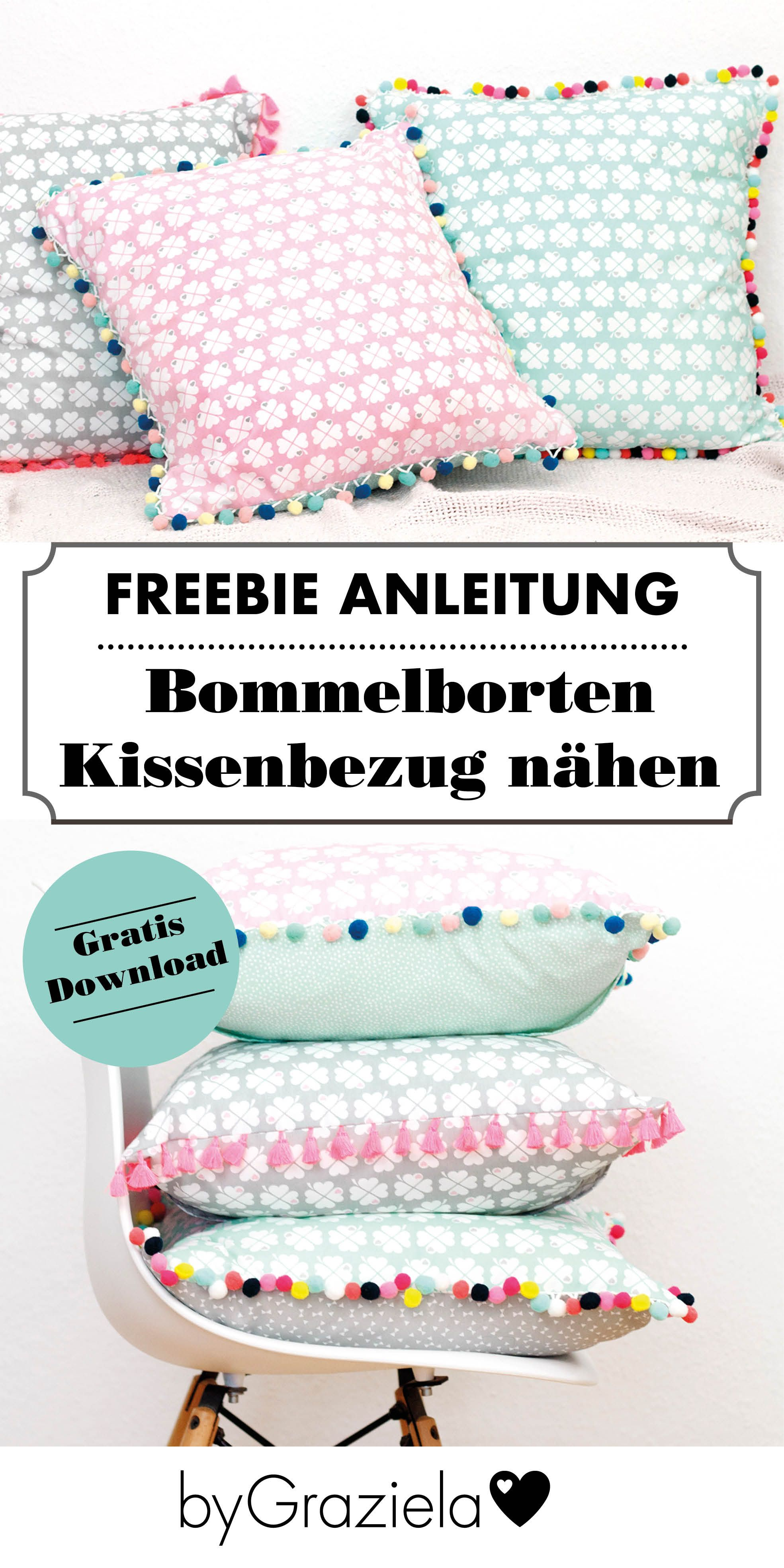 n h dir einen kissenbezug mit bommelborte n hen f r kinderzimmer pinterest n hen kissen. Black Bedroom Furniture Sets. Home Design Ideas