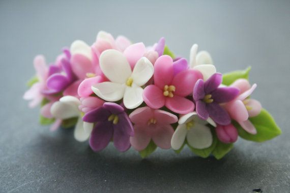 Lilac flower barrette Flower hair clip Spring barrette by DecorUA