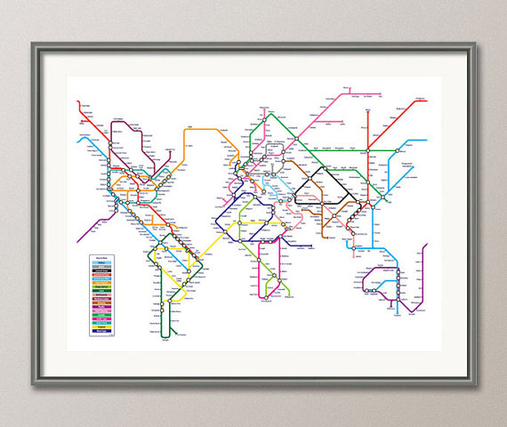 World map as a tube metro subway system art print 18x24 inch 596 world map as a tube metro subway system art print 18x24 inch 596 gumiabroncs Image collections