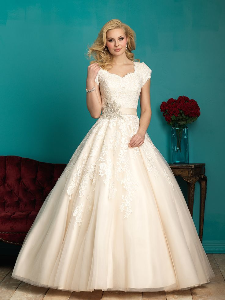 Allure Modest M544 Lace Ball Gown Wedding Dress – Off White by ...
