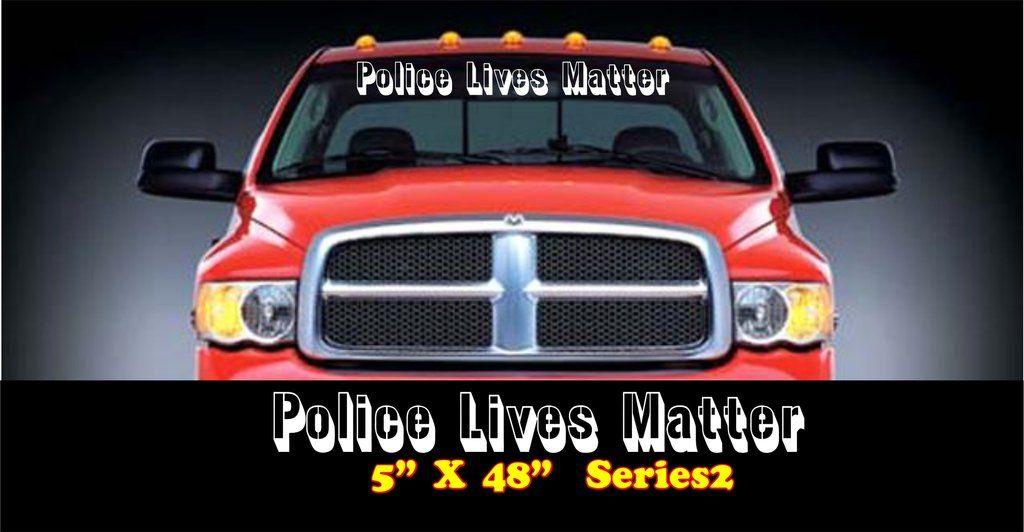 Police Lives Matter Windshield Banner Jeep decals, Rear