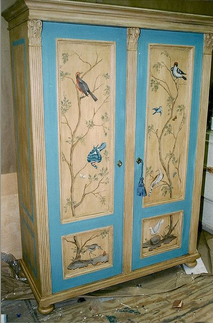Beau Armoire W/ Painted Panels By Heide Davis, Via Flickr