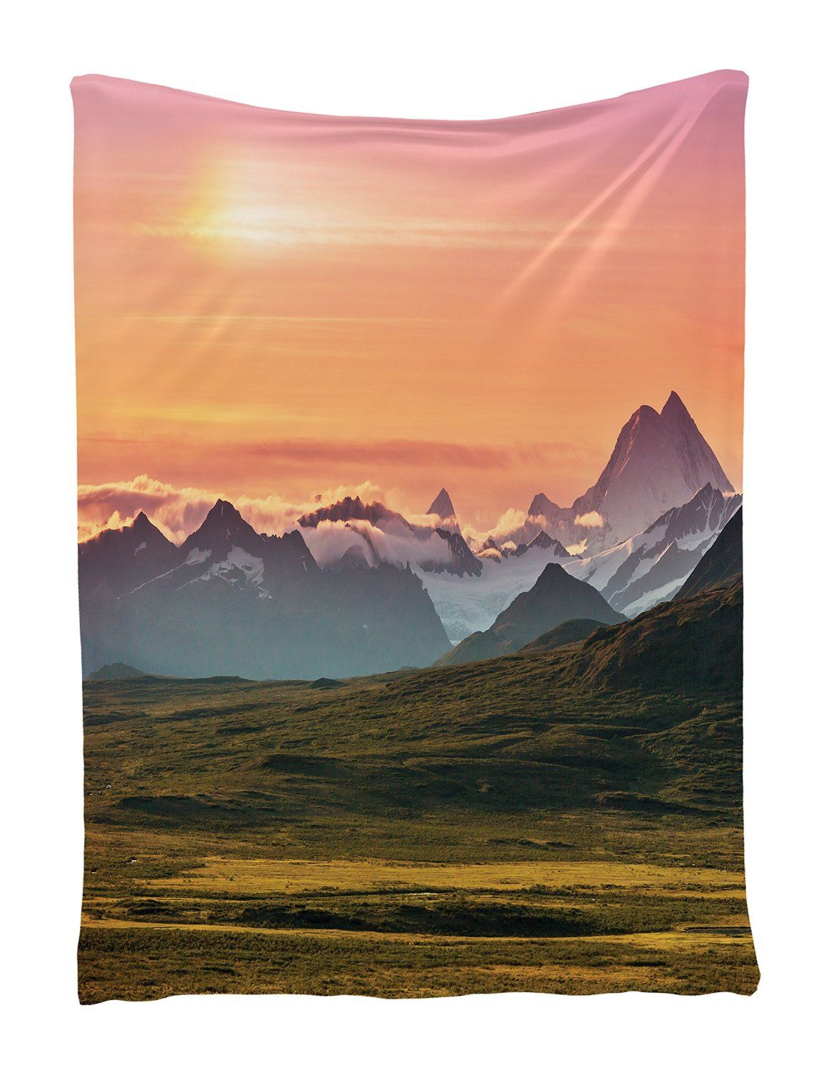 amazon com sunset and mountains wall hanging tapestry with sunset and mountains wall hanging tapestry with romantic pictures art nature home decorations for living room bedroom dorm decor in inches shiny silky satin