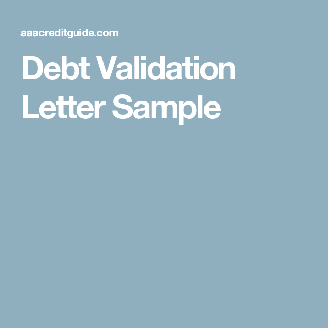 Sample Debt Validation Letter Send To Debt Collectors  Letter