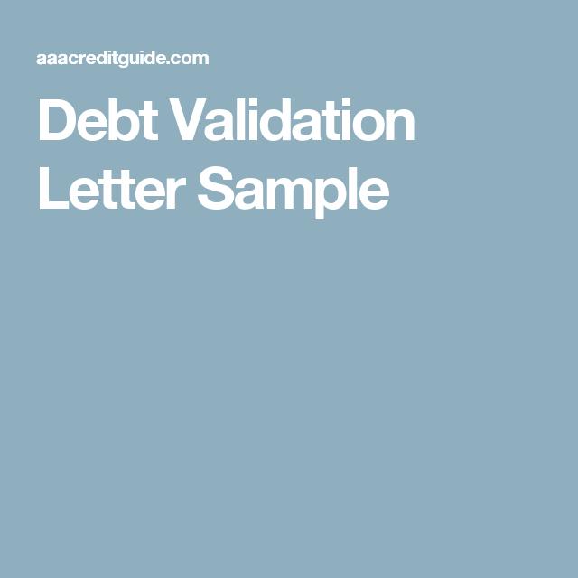 Sample Debt Validation Letter Send To Debt Collectors  Letter