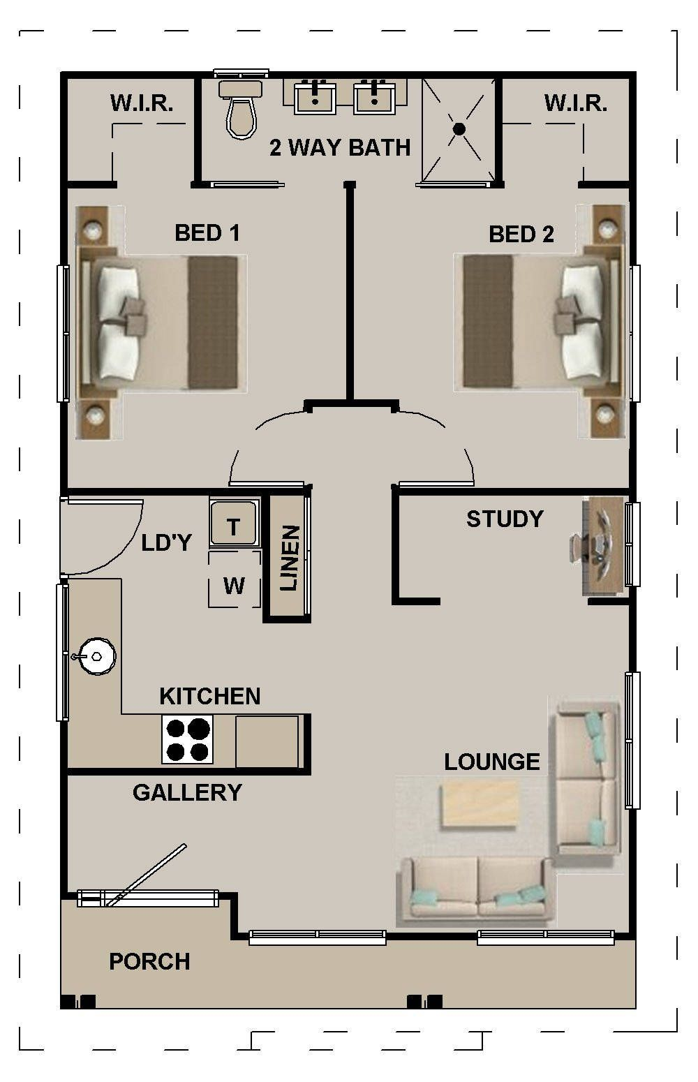 635 Sq Feet Or 59 8 M2 Hamptons Style 2 Bedroom Granny Flat Etsy Small House Floor Plans Tiny House Floor Plans Small House Design