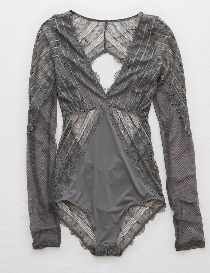 23d43b7584 Aerie Lace Long Sleeve Bodysuit | Teen Girls Intimates | Lace ...