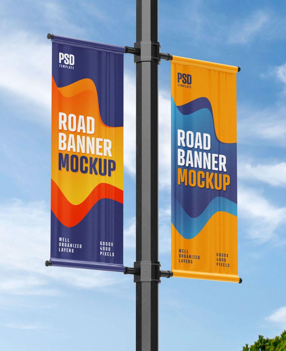Street Pole Banner Mockup Set In 2021 Pole Banners Banner Design Inspiration Street Banners