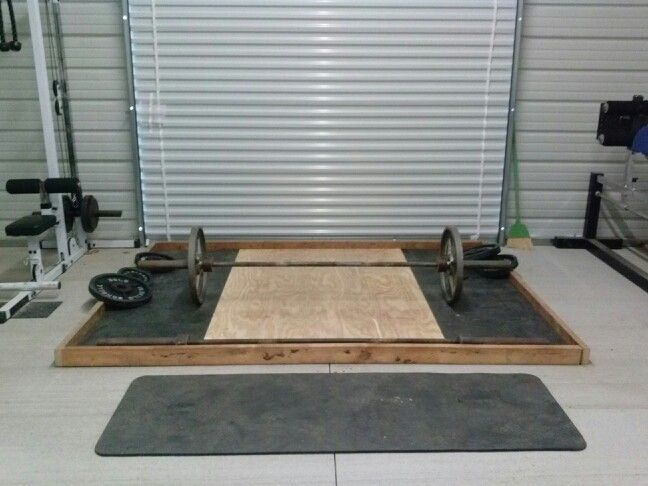 Diy deadlift platform home gym created by husband in