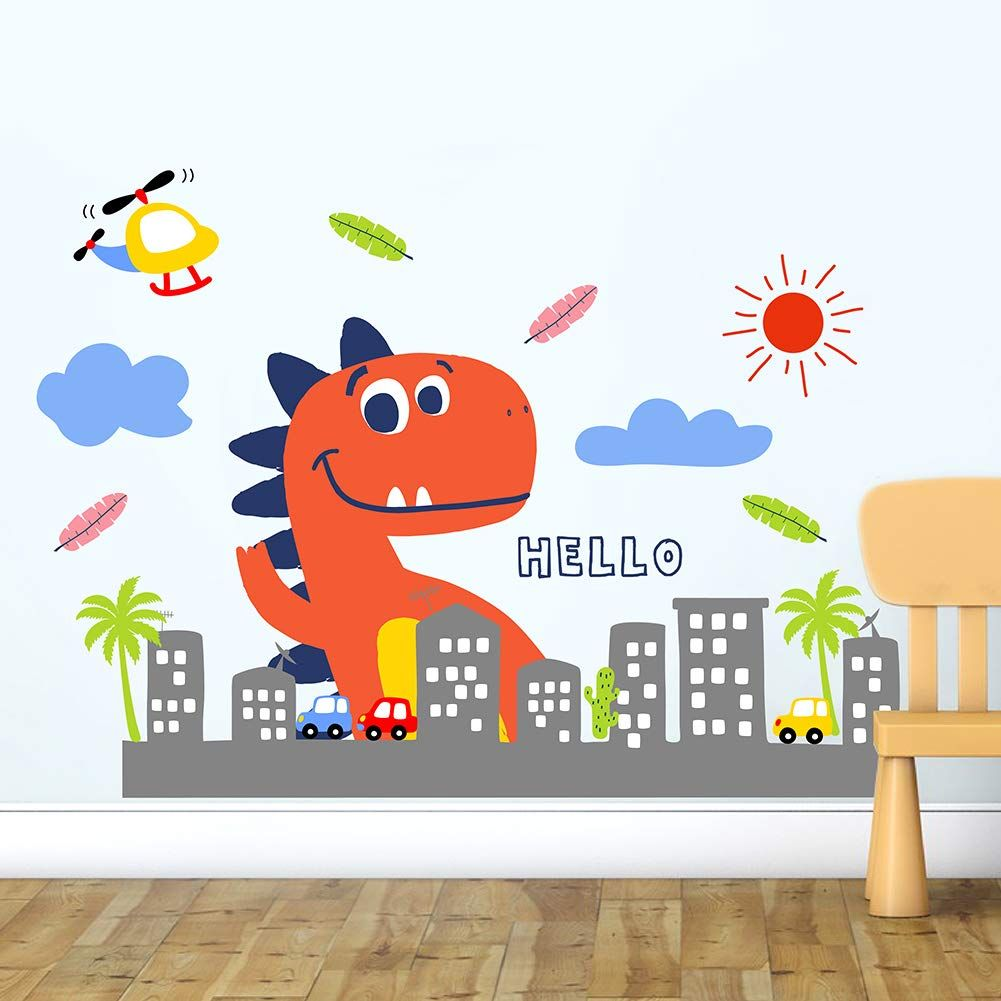 Haokhome W 10603 Wall Decal Cute Dinosaur Wall Sticker For Kids
