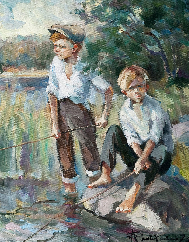 Raatikainen Onkipojat Sign 73 Oljy 63x50 Cm Scandinavian Paintings Art Fish Painting