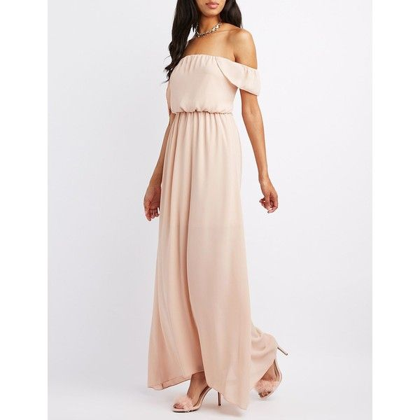 Charlotte Russe Ruffle Off-The-Shoulder Maxi Dress ($50) ❤ liked on ...