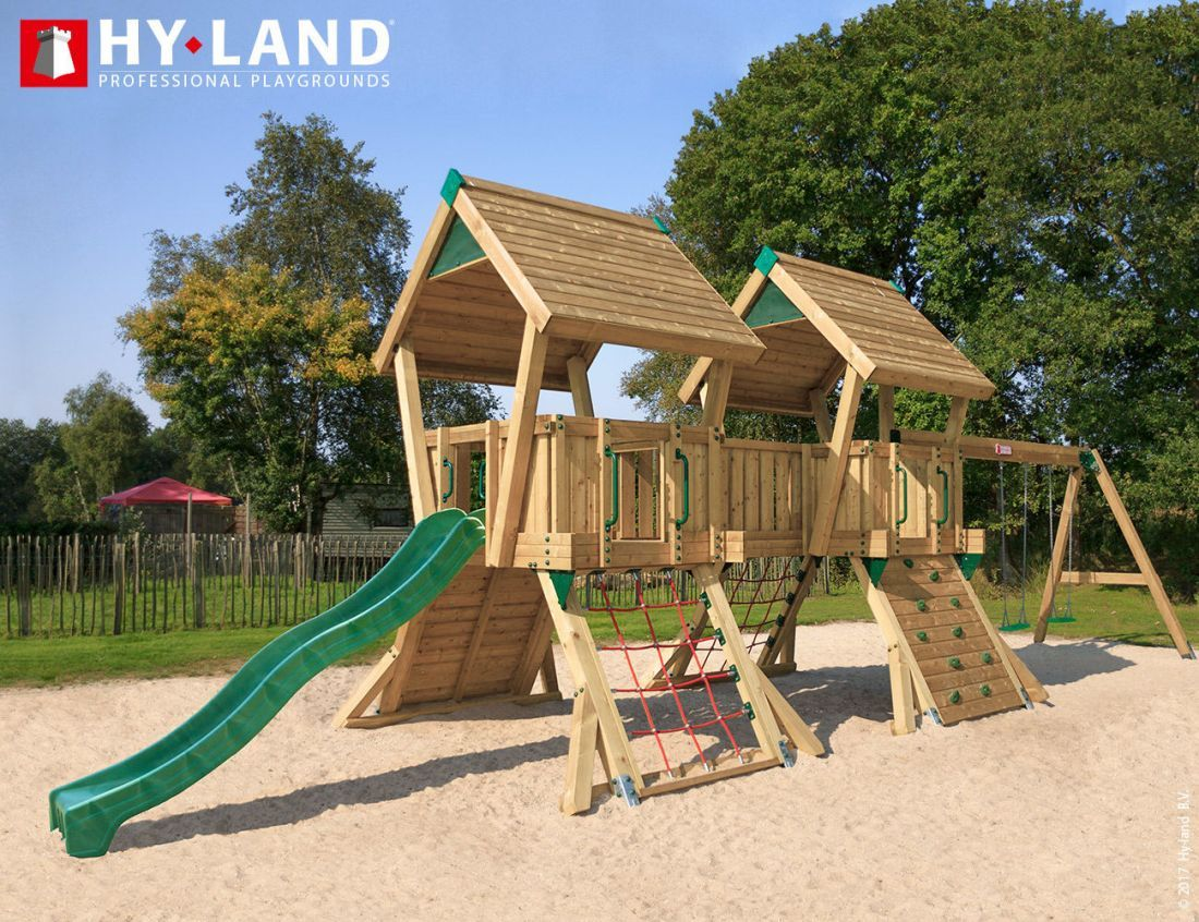 Large professional outdoor swing and slide set with net ...