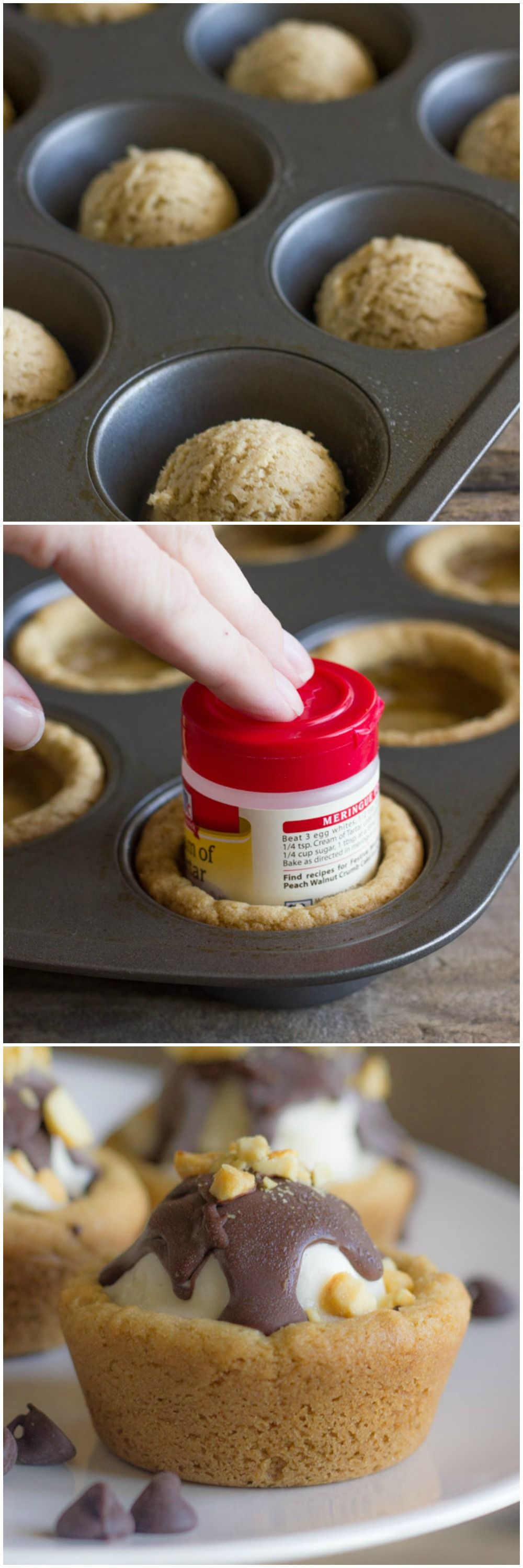 Cute Little Cookie Cups Filled With Ice Cream And Topped With Homemade Magic Shell Great For The Holidays