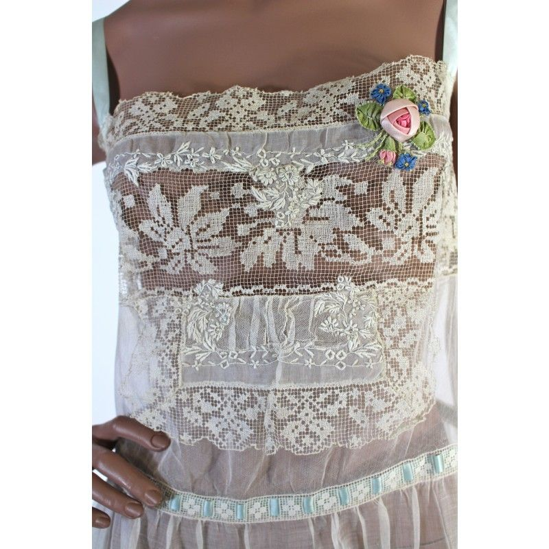 1920s lace slip with silk flowers