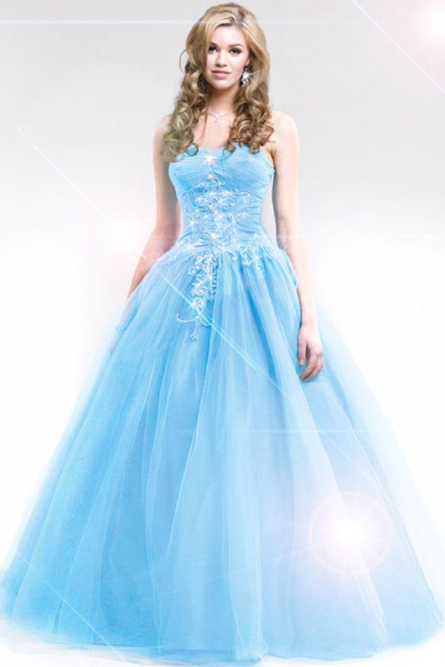 70634f2cfe5 Blue Cinderella ball gown w  sweetheart neckline and silver sparkled ...