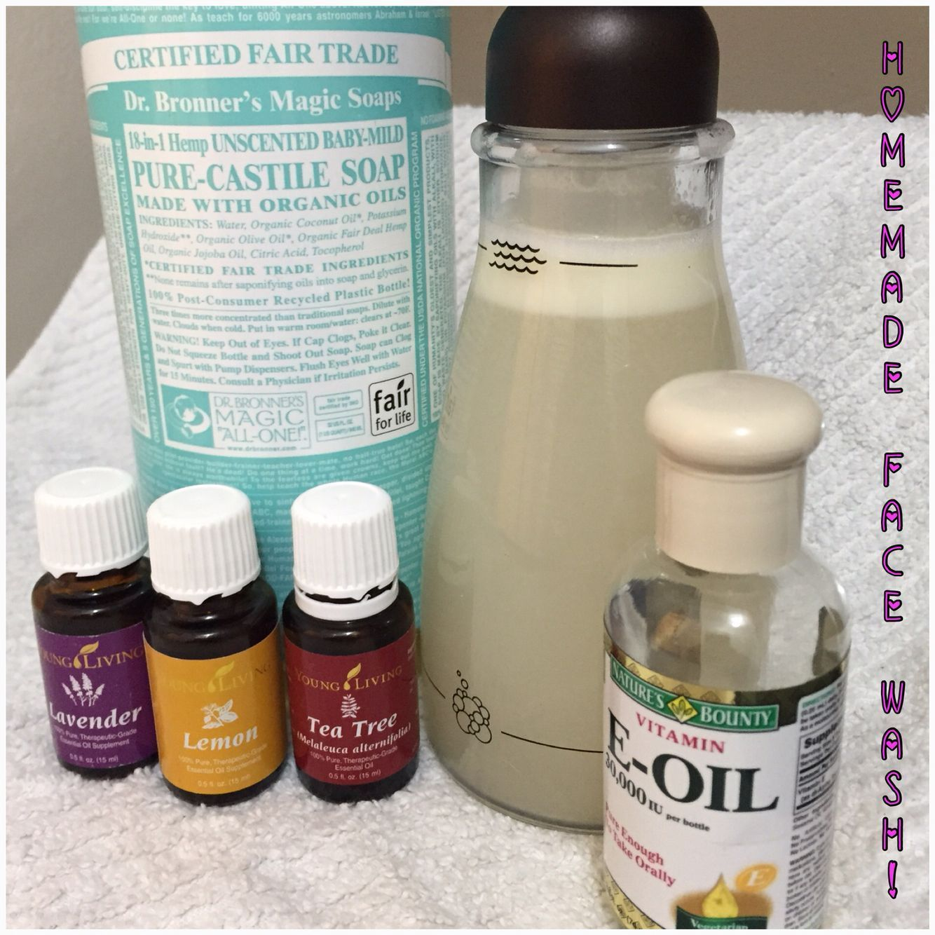 Homemade Acne Face Wash! * 1/3 Cup Castile Soap * 2/3 Cup