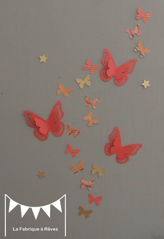 25 stickers papillons corail abricot p che gris et dor - Deco chambre dore ...