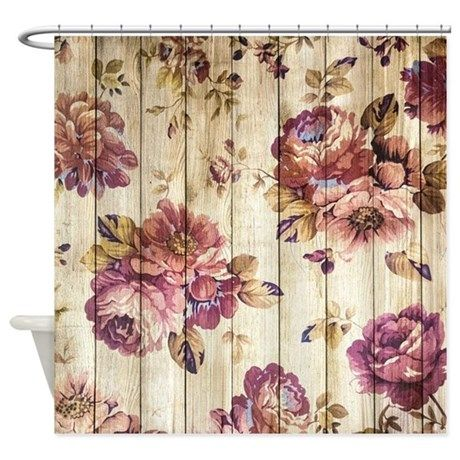 Vintage Pink Roses On Wood Shower Curtain CafePress
