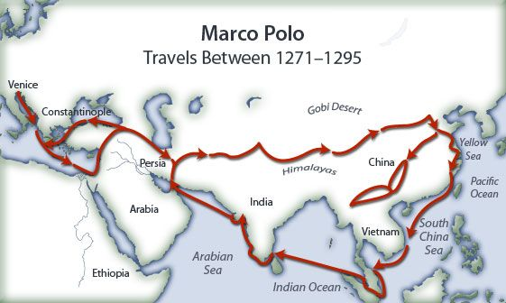 Route Map Of Marco Polo S Travels Route Map Marco Polo Travel