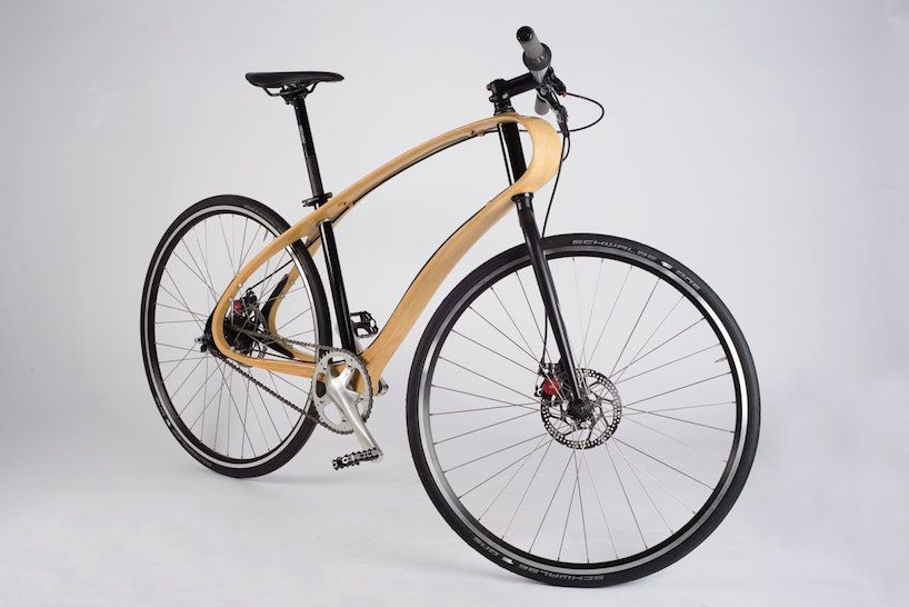 jan re-discovers natural materials with wooden bicycle frame