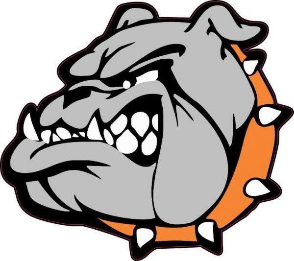 5 25in x 4 75in orange collared bulldog mascot sticker bulldog rh pinterest com