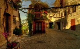 French Streets, arch, buildings, flowers, road, street, vines