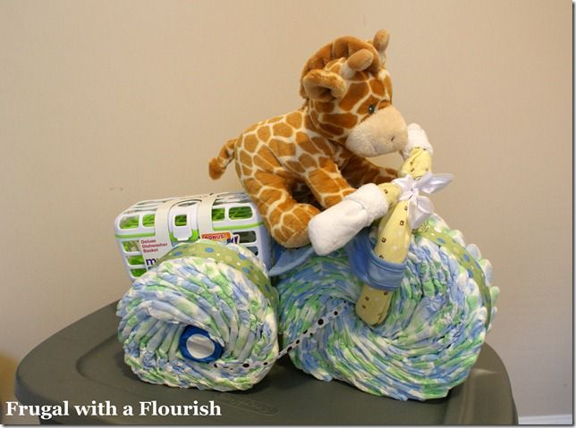 Tricycle diaper cake how to
